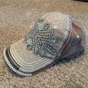 Olive & Pique tan bling baseball hat